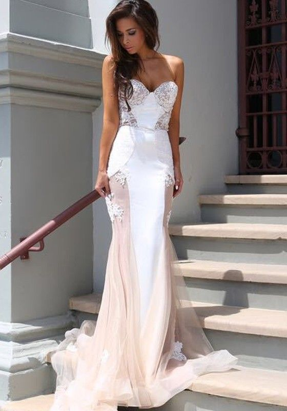 Wedding dress with illusion parts