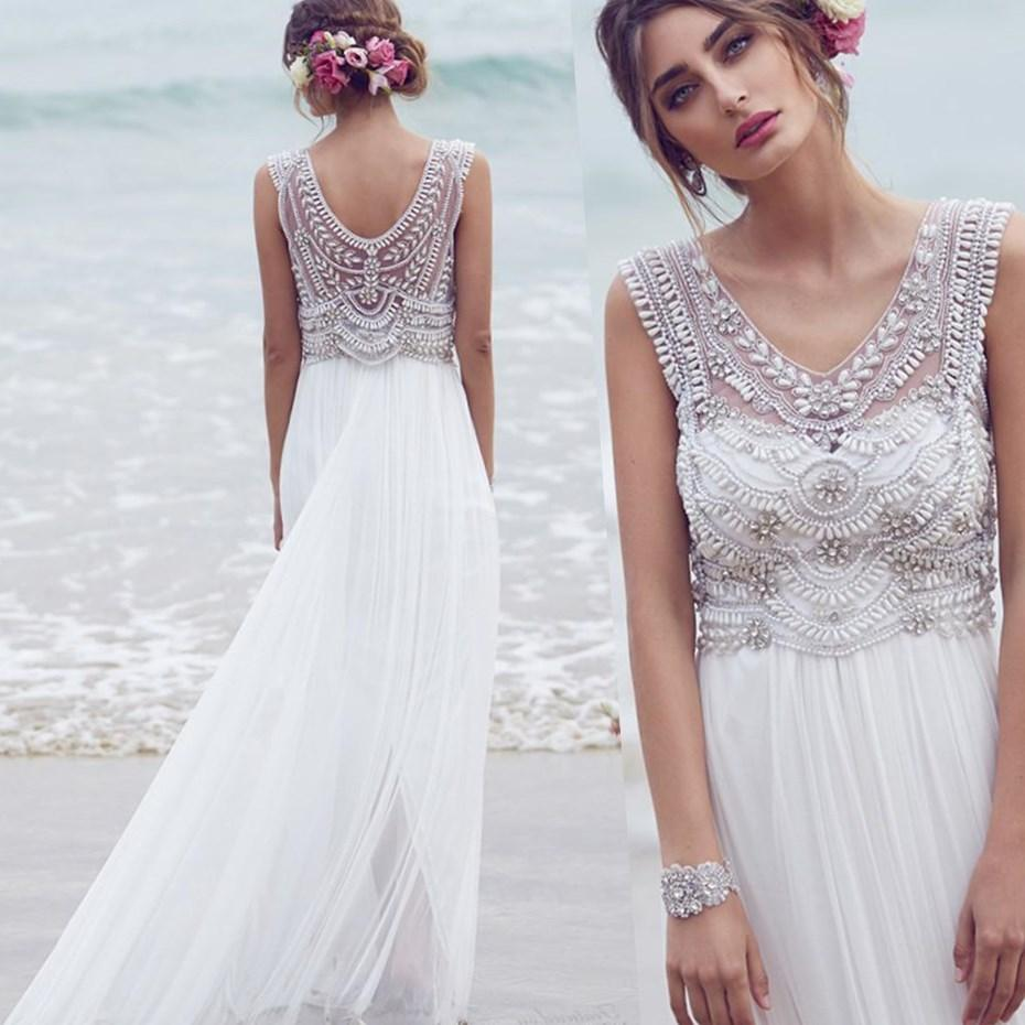 Bohemian Wedding Dress for Pregnant Bride