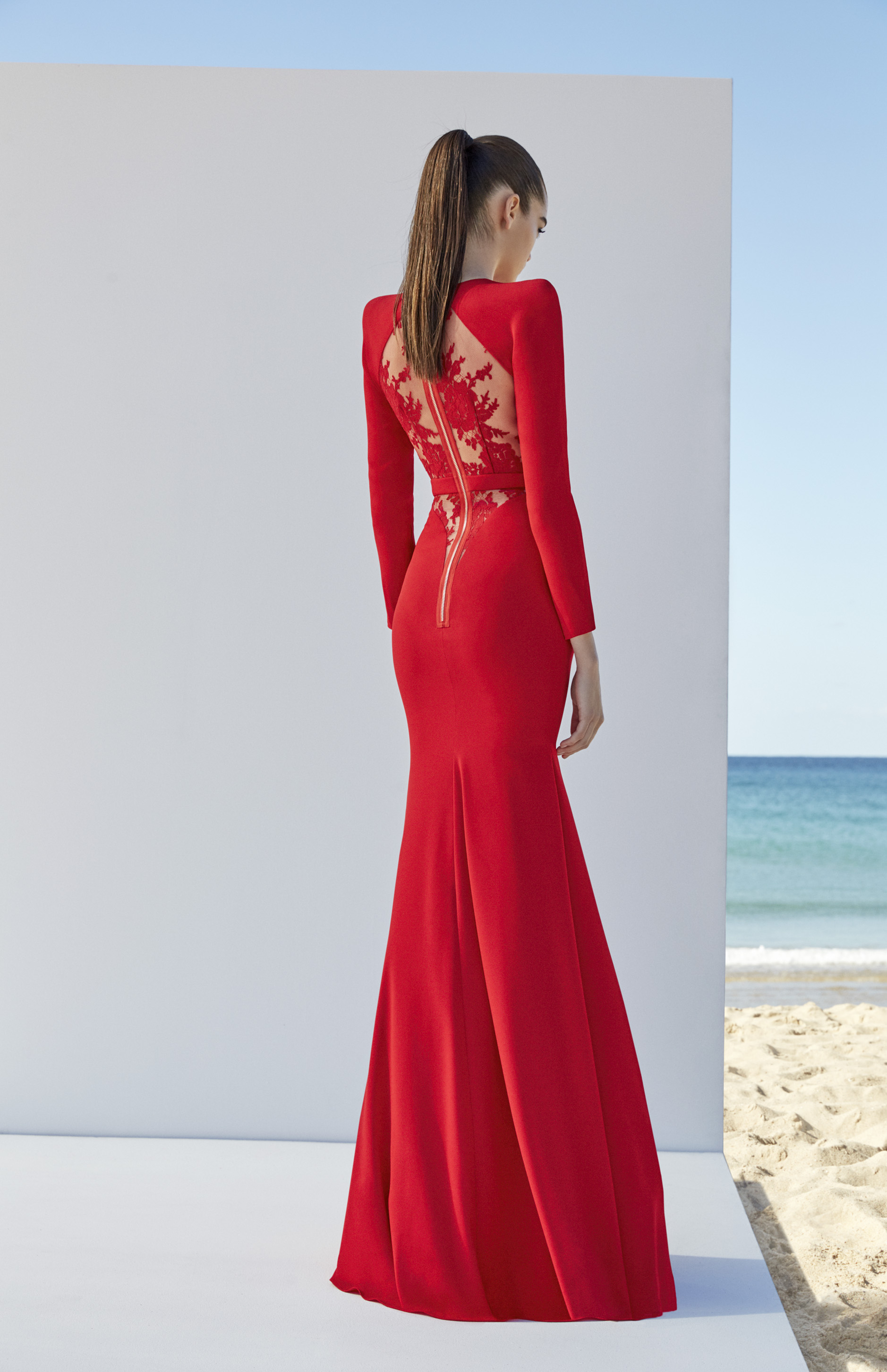 Alex Perry red mermaid dress with sleeves