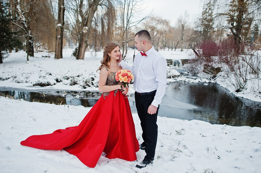 A bride in a red wedding dress