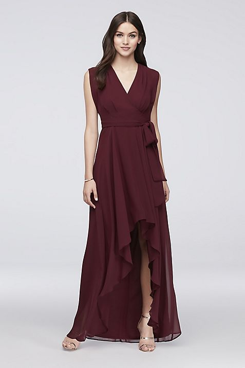 Faux wrap chiffon dress by David's Bridal