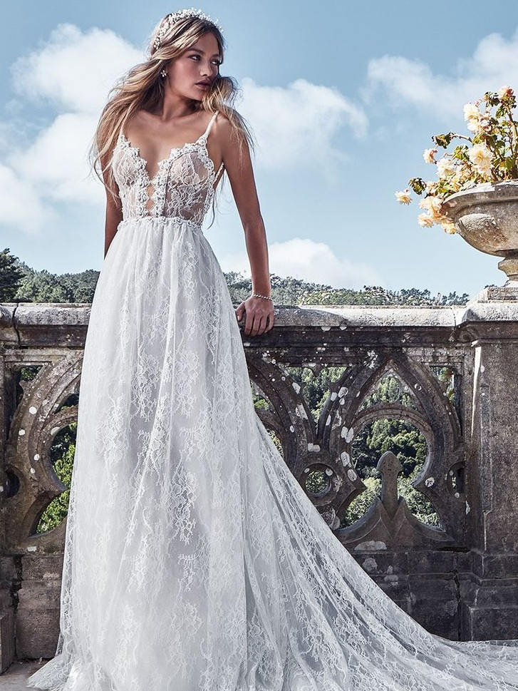 Thin lace wedding dress