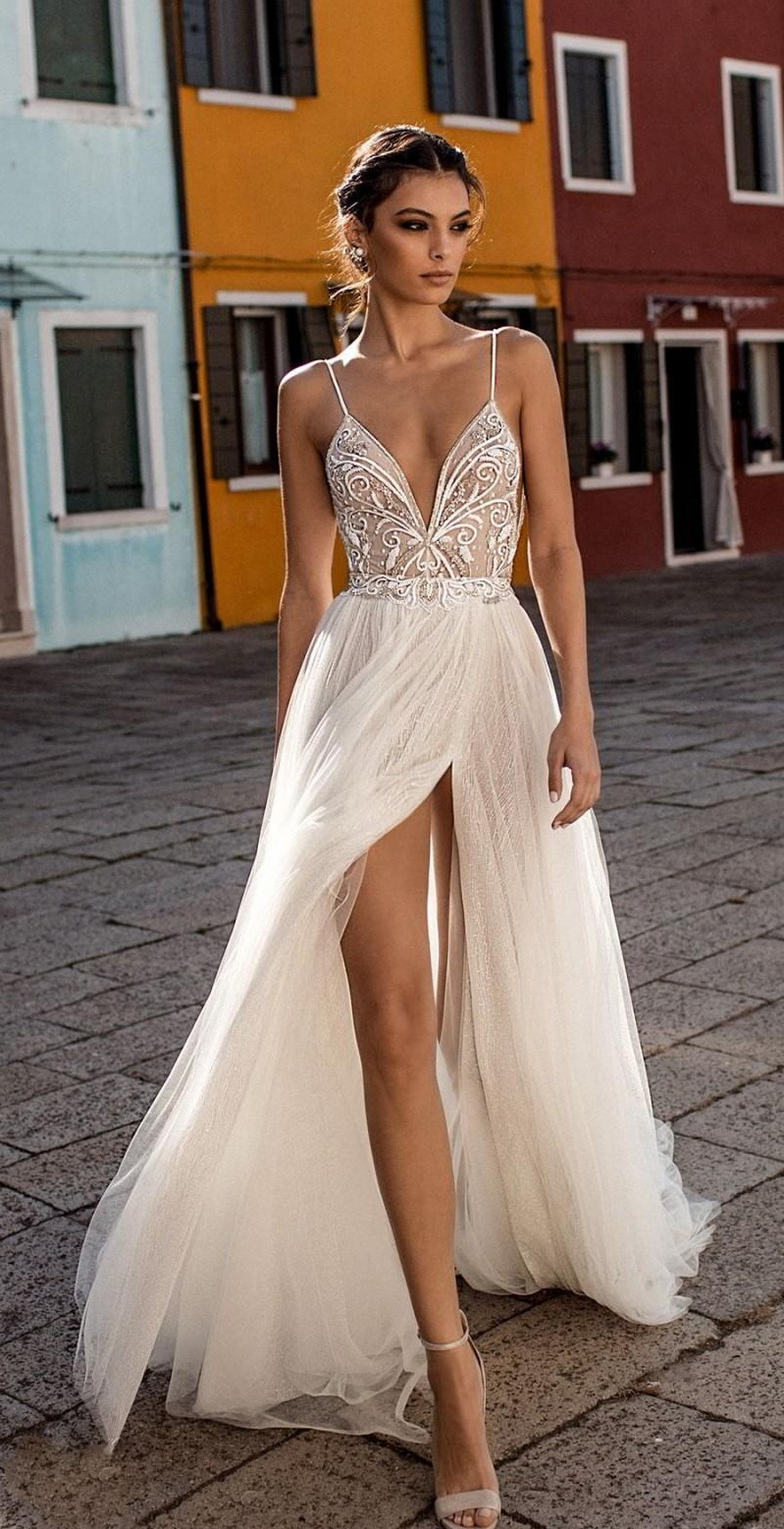 High split wedding dress