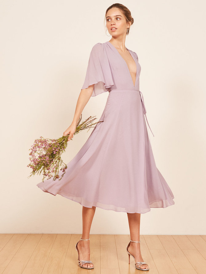 Rhodes lilac dress by Reformation