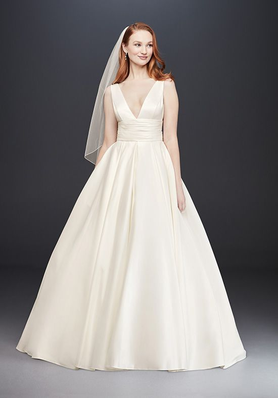 Satin wedding dress by David's Bridal collection