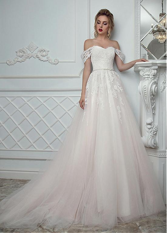 A-line off-the-shoulder wedding dress