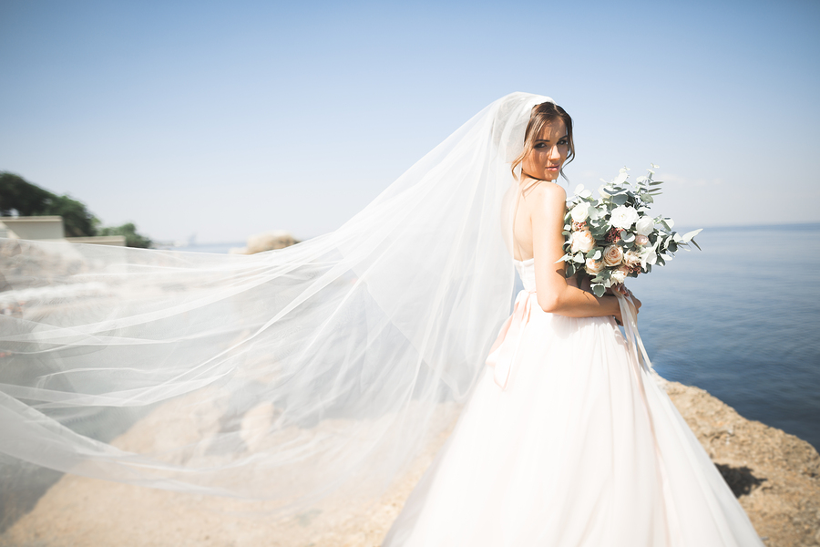 A beautiful bride on the seashore
