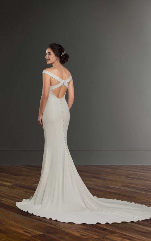 Off-the-shoulder open back wedding dress by Martina Liana