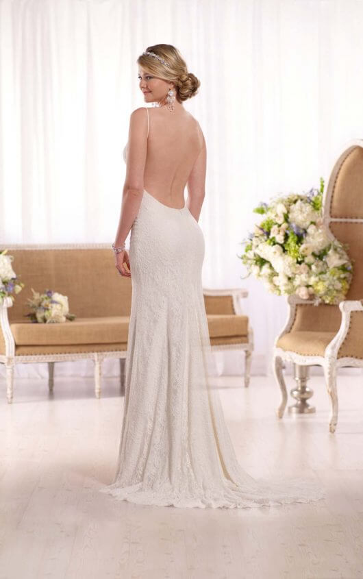 Lace open back wedding dress by Essense of Australia