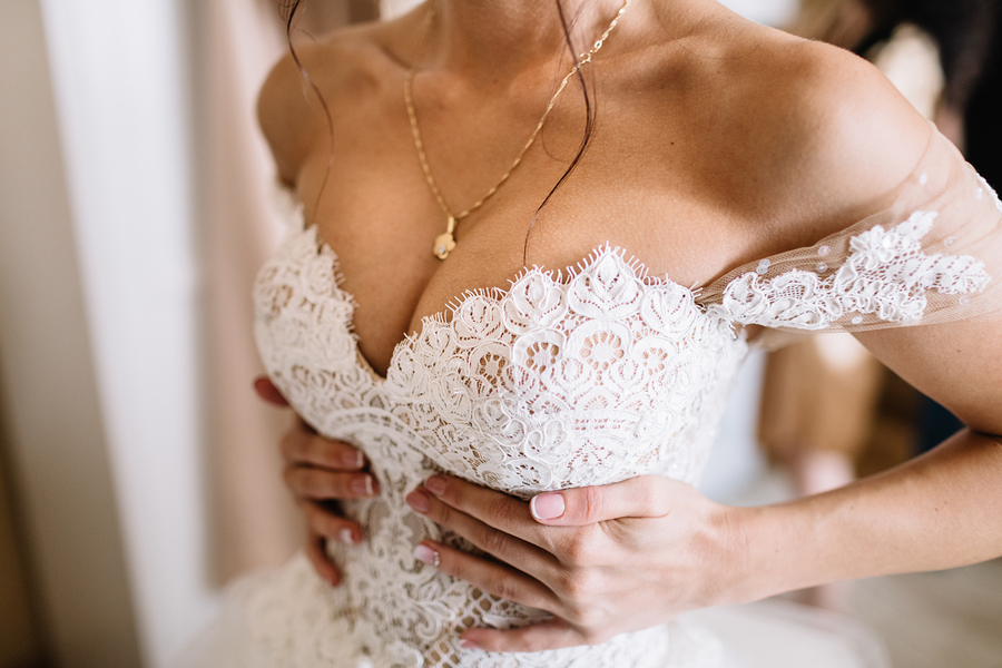 Wedding dress for a busty bride