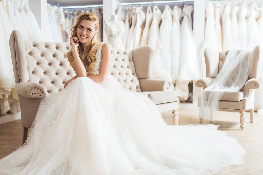 Young Bride In Tulle Dress Wedding Salon
