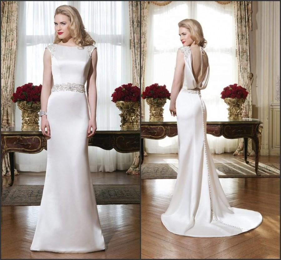 Satin sheath wedding dress