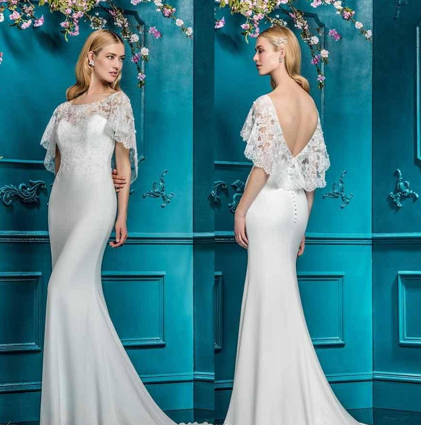 Sheath wedding dress with flutter sleeves