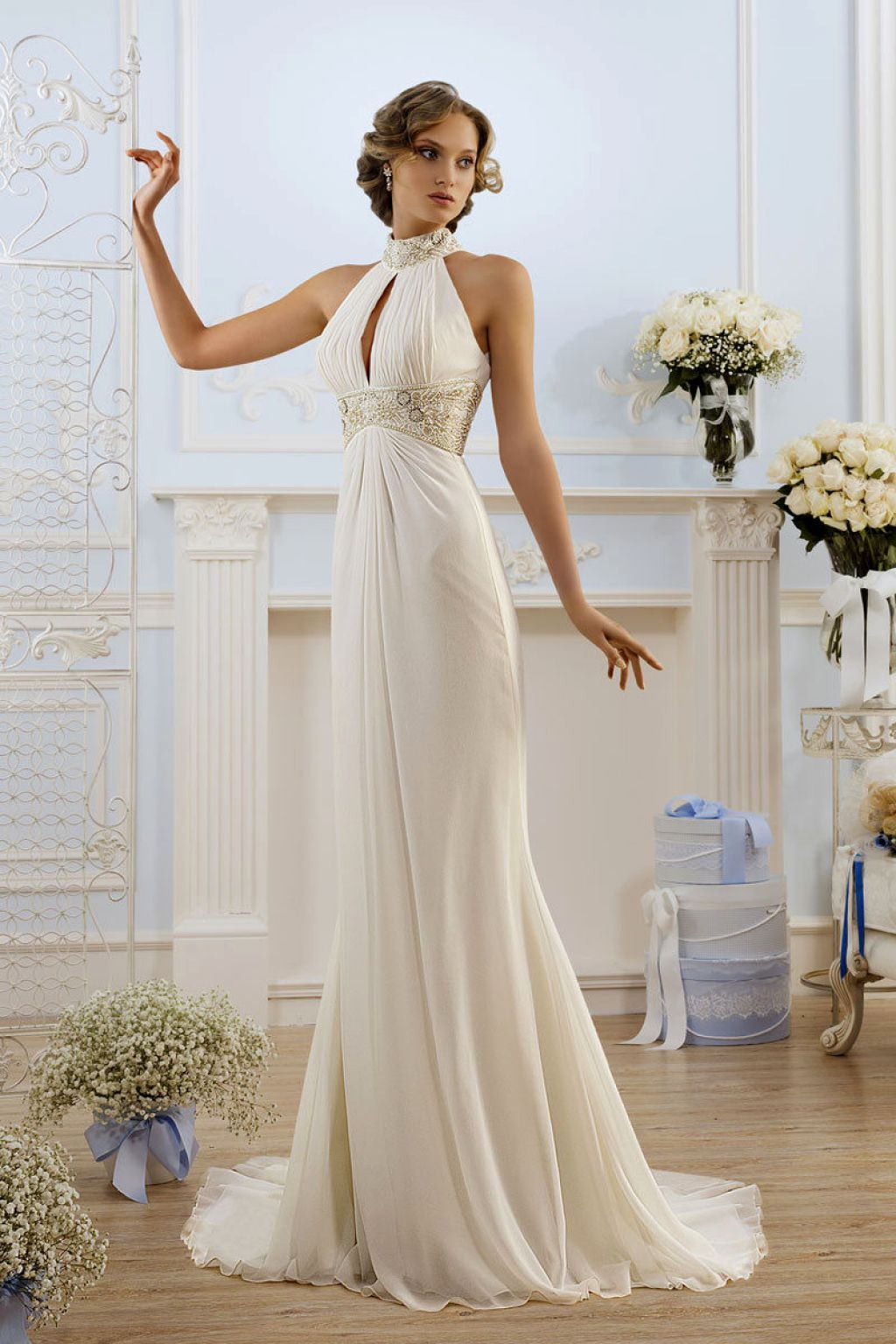 Sheath wedding dress with halter neck