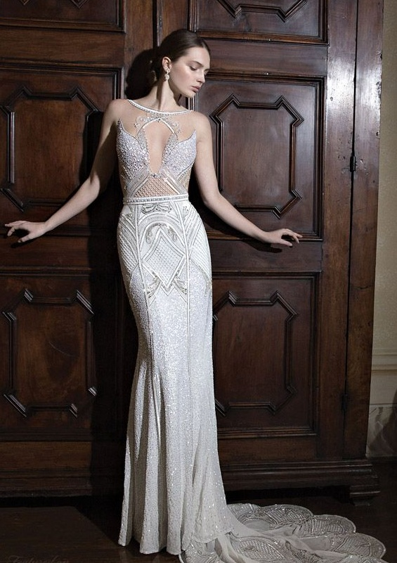 Sheath wedding dress with illusion bodice