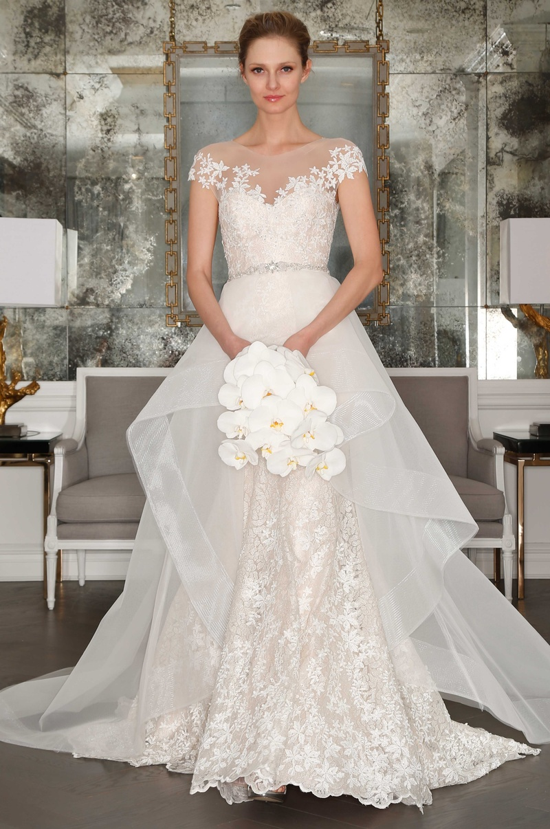 Illusion off the shoulder wedding dress