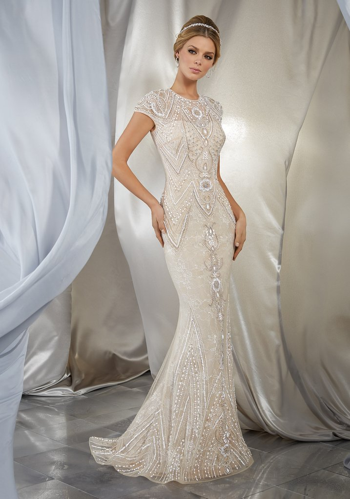 Beaded sheath wedding dress
