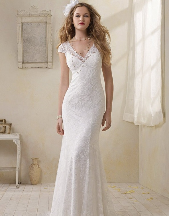 Sheath wedding dress with cap sleeves