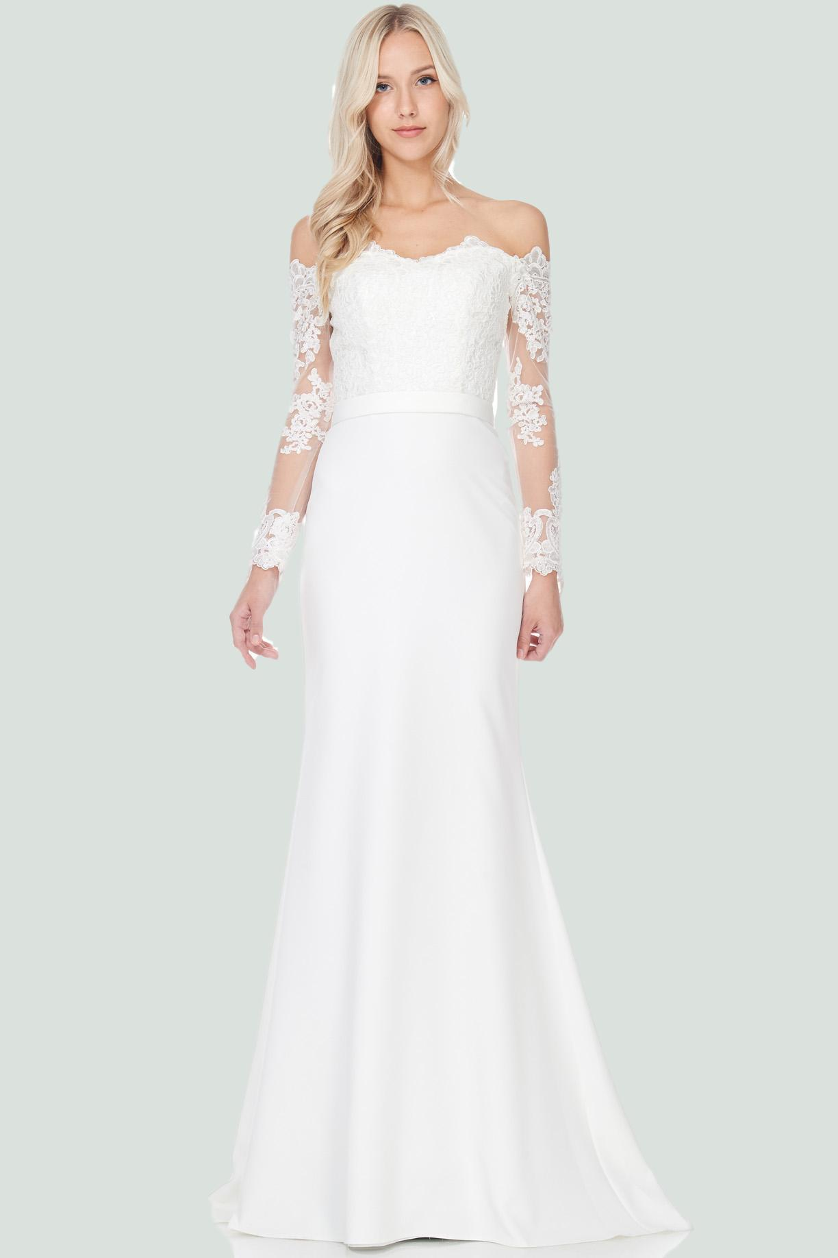 Off the shoulder sheath wedding dress
