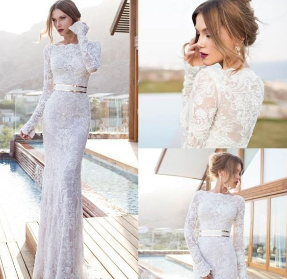 Long sleeve sheath wedding dress
