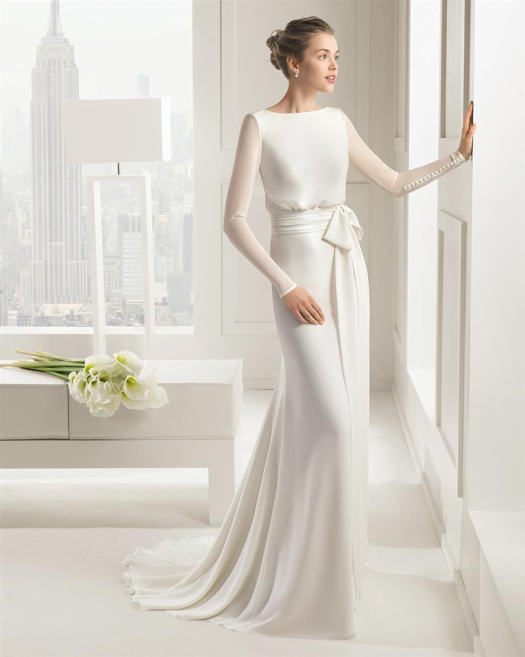 Sheath wedding dress with long sleeves