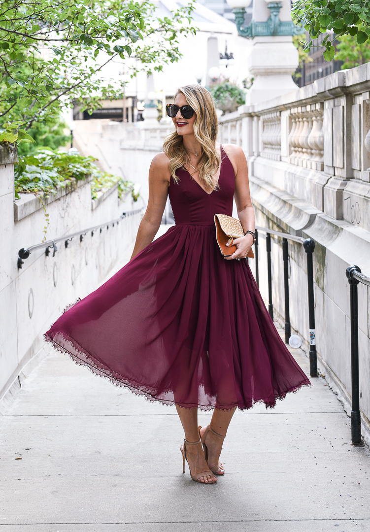 Chiffon wedding guest dress
