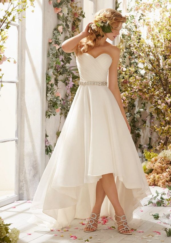 High-low elegant wedding dress