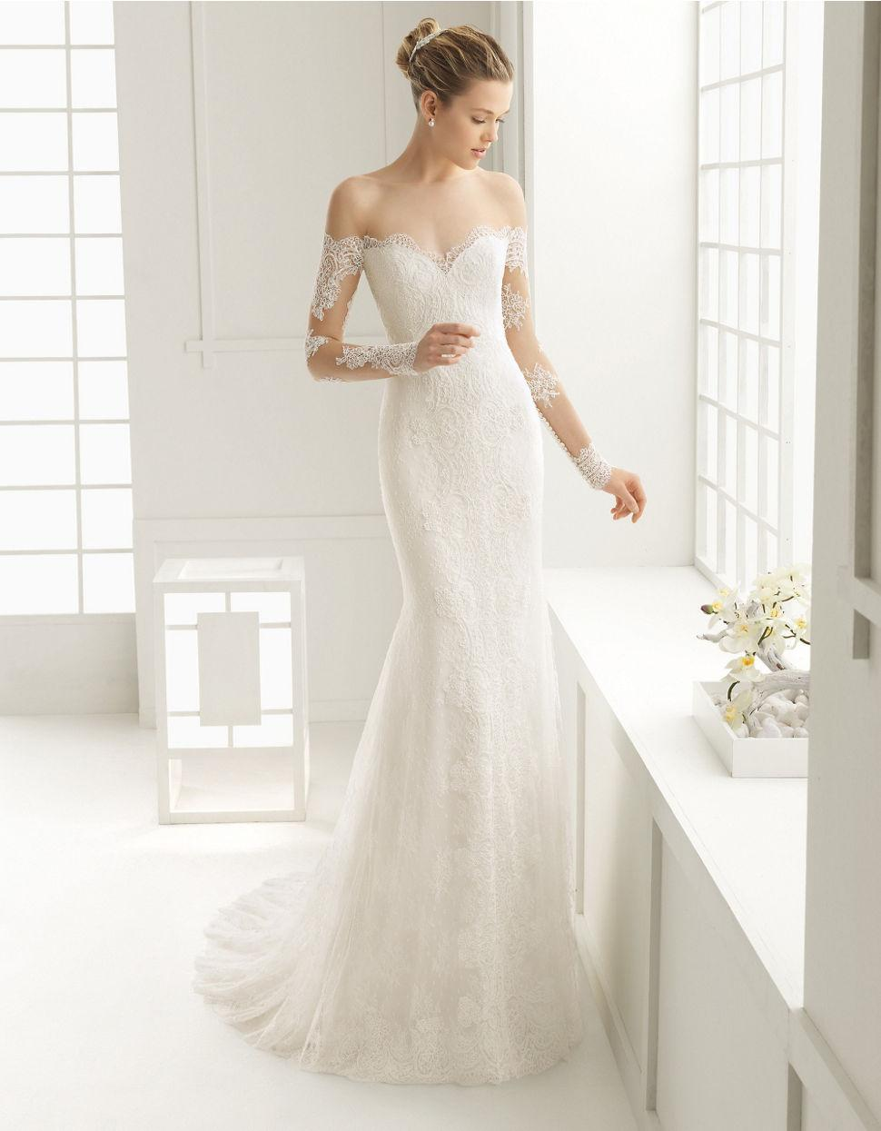 Sheath wedding dress with open shoulders