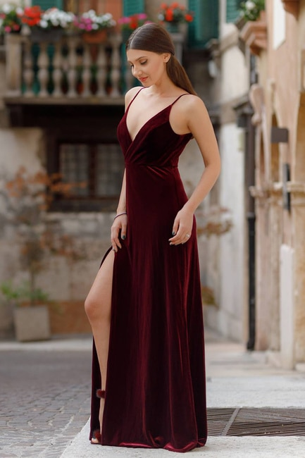 Velvet wedding guest dress
