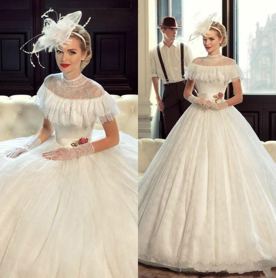 Victorian wedding dress with ruffles
