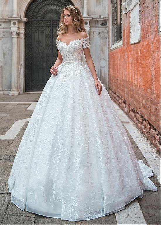 Princess off the shoulder wedding gown