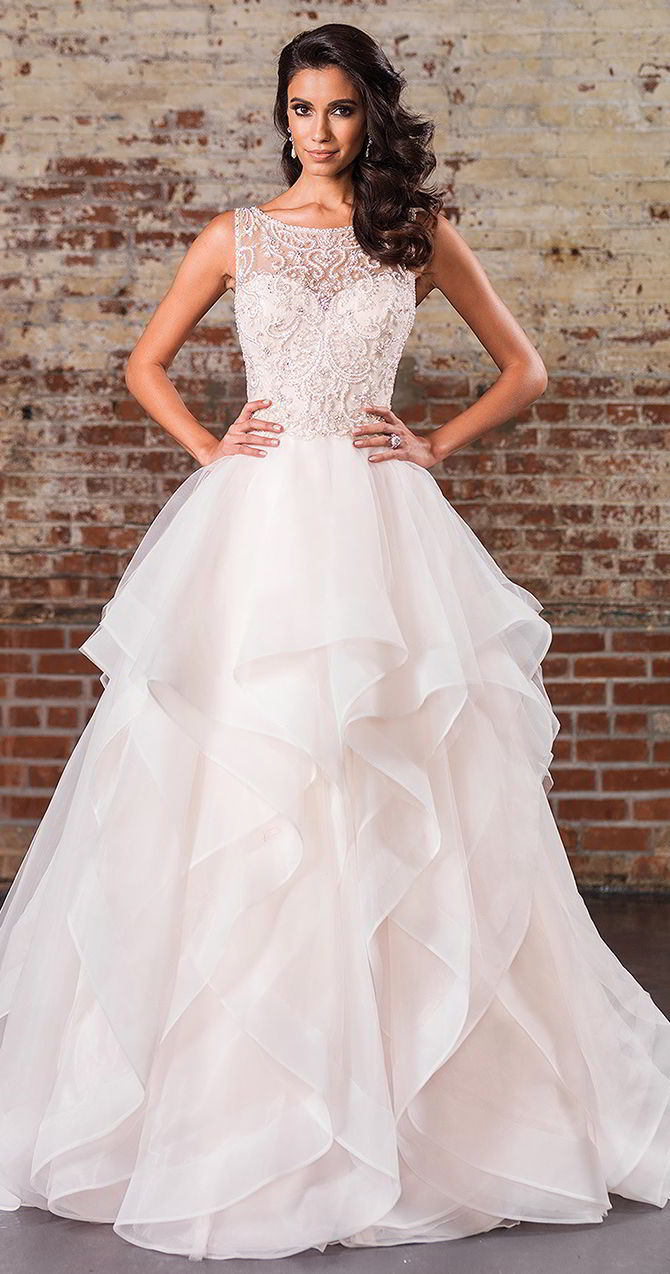 Wedding dress with tiered skirt
