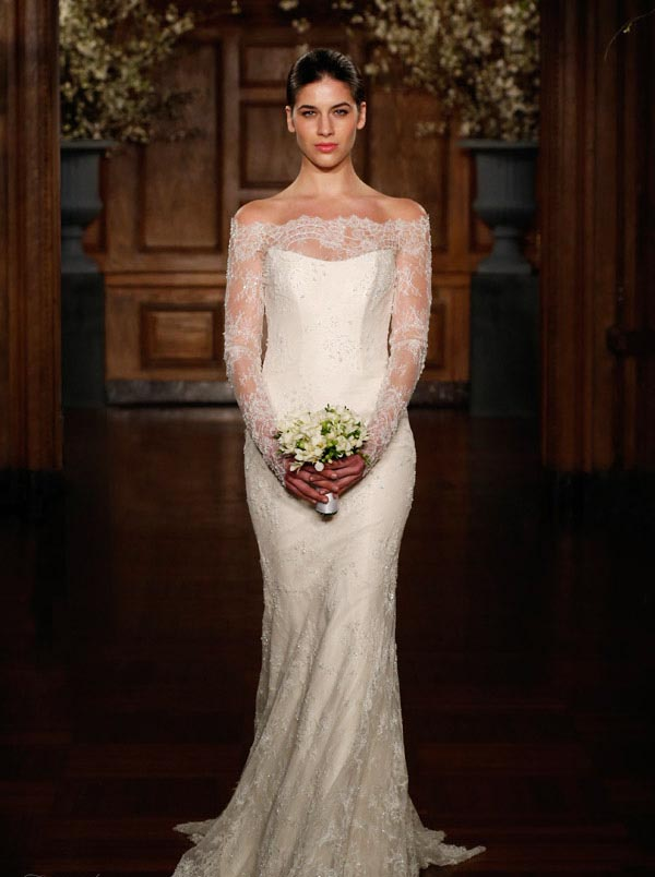 Bare shoulders wedding dress with long sleeves