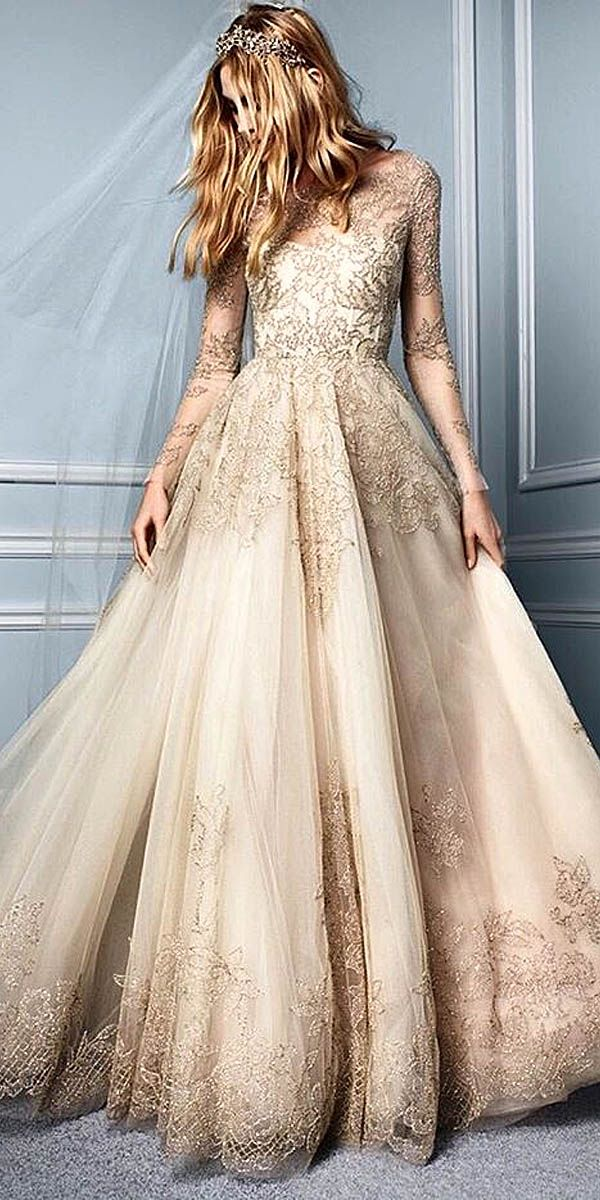 Wedding dress with gold accents