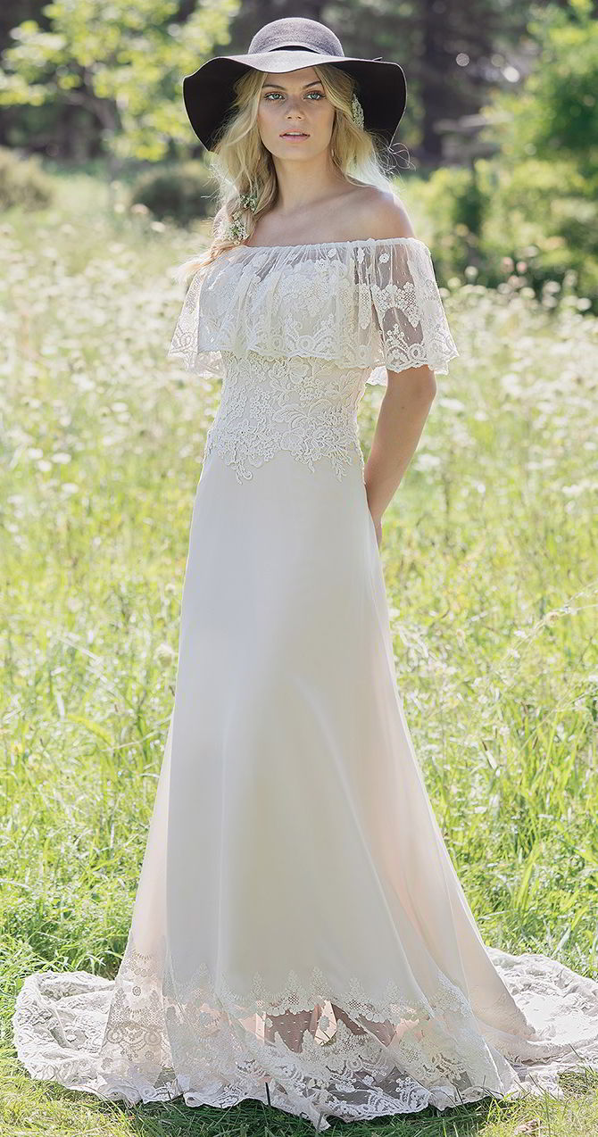 Off the shoulder wedding dress with ruffle