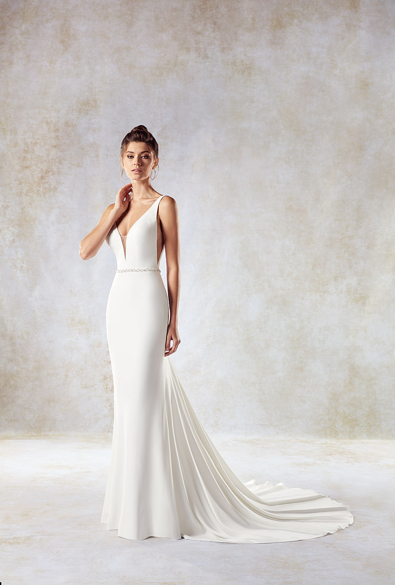 Plunging neckline sheath wedding dress