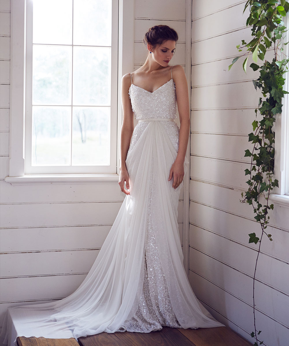 Elegant wedding dress with beading