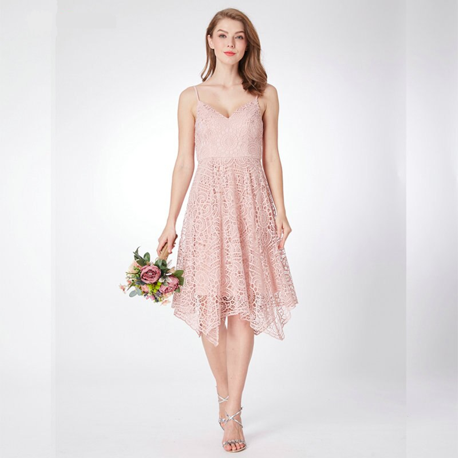 Knee-length bridesmaid dress