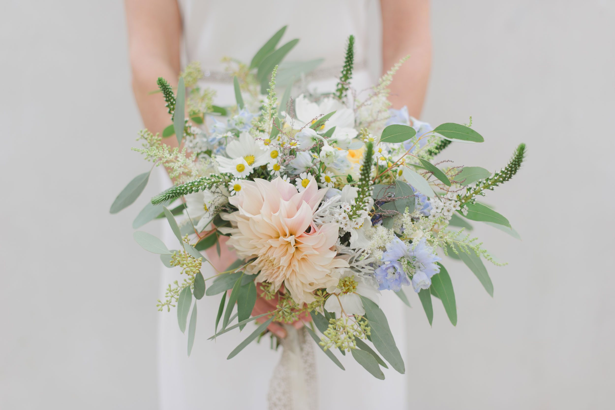 Romantic wedding bouquet in pastel colors