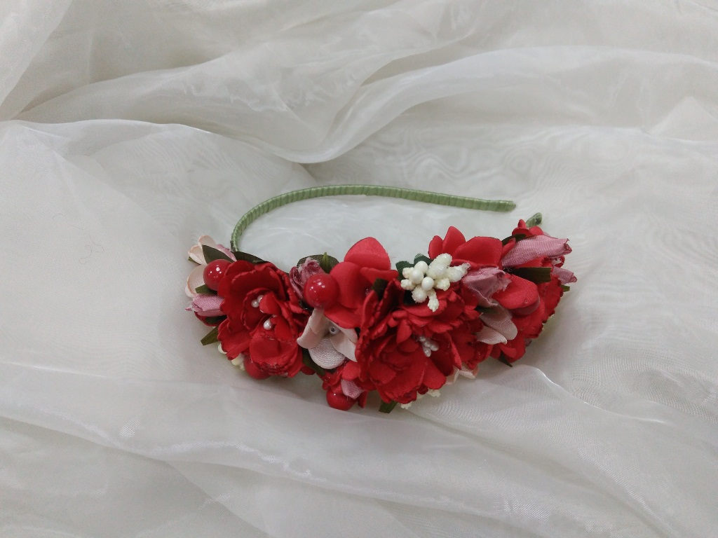 Red flower headband