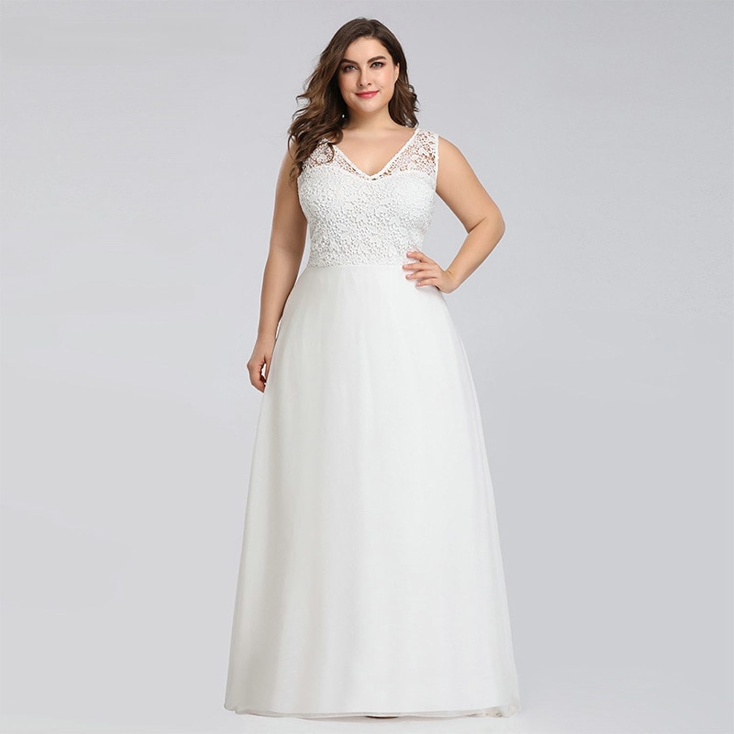 A-line V-neck wedding dress