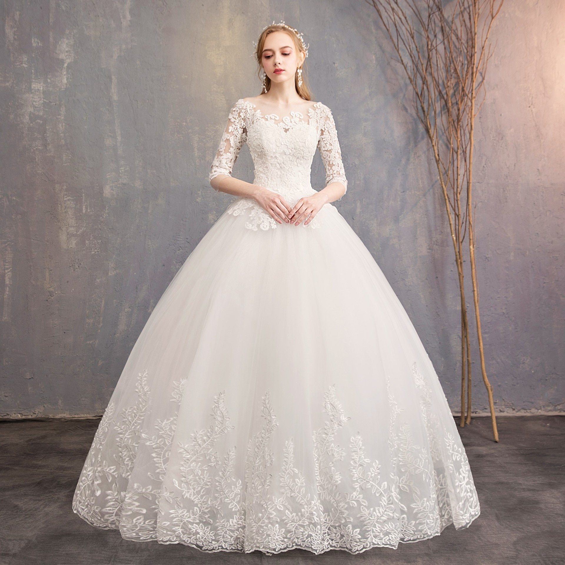Ball gown with sleeves