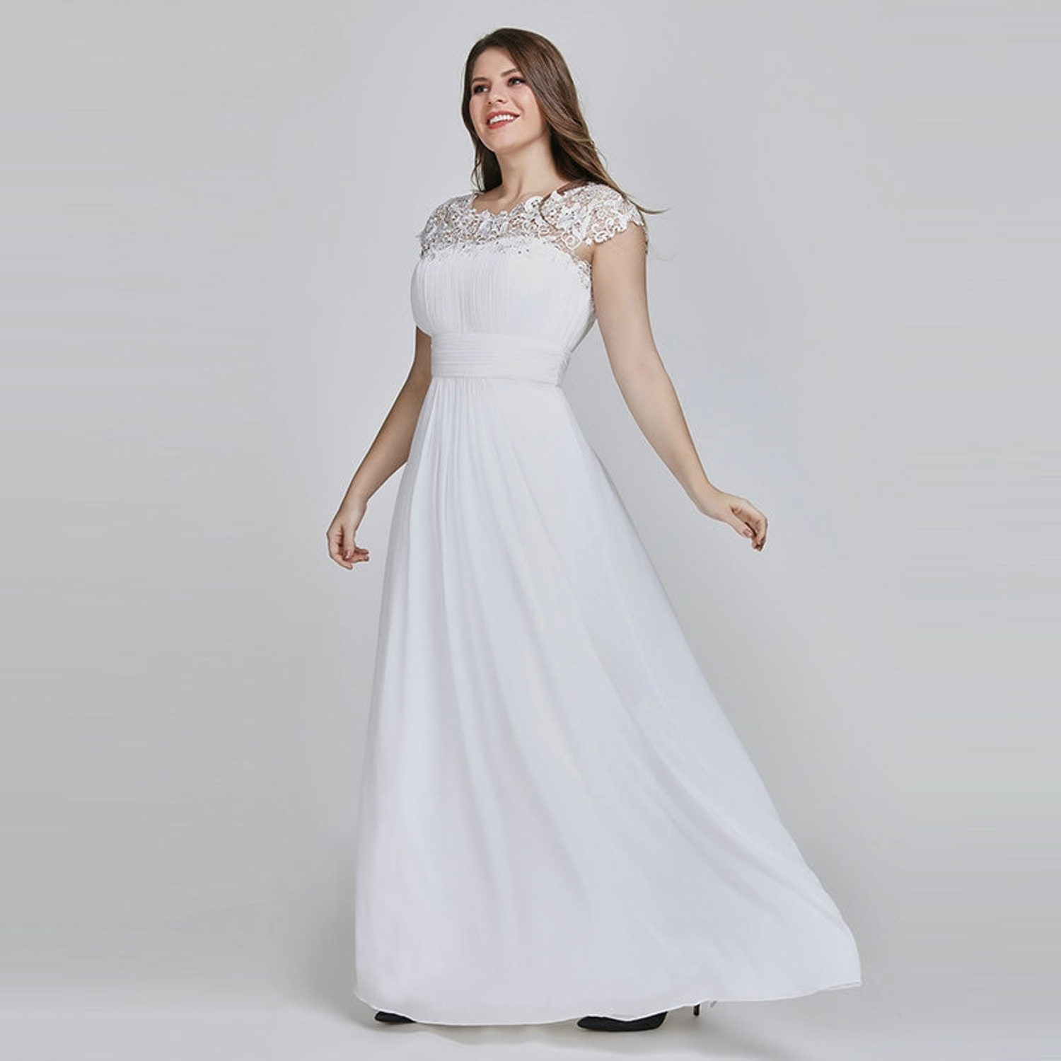 Bateau neck wedding dress