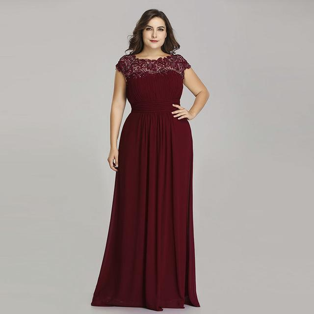 Burgundy dress with lace decor
