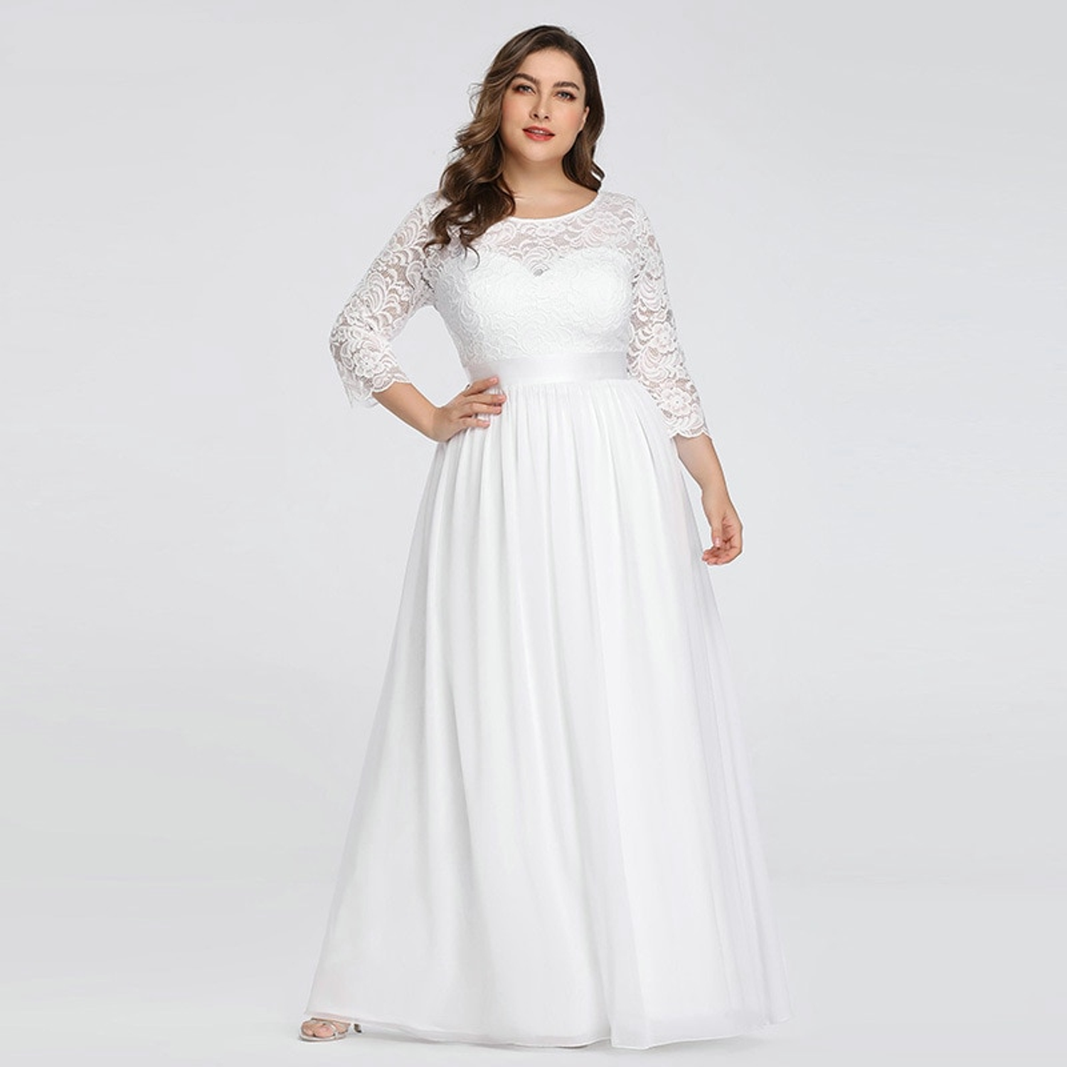 Empire waist wedding gown with sleeves