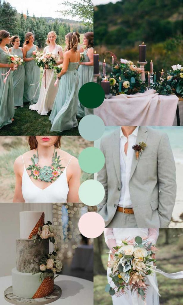 Mint and forest green wedding