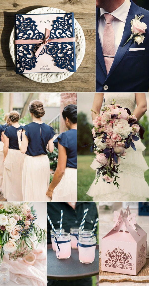 Navy blue and blush wedding