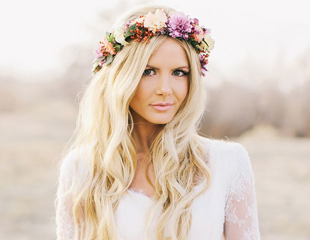 Hair down with a flower crown