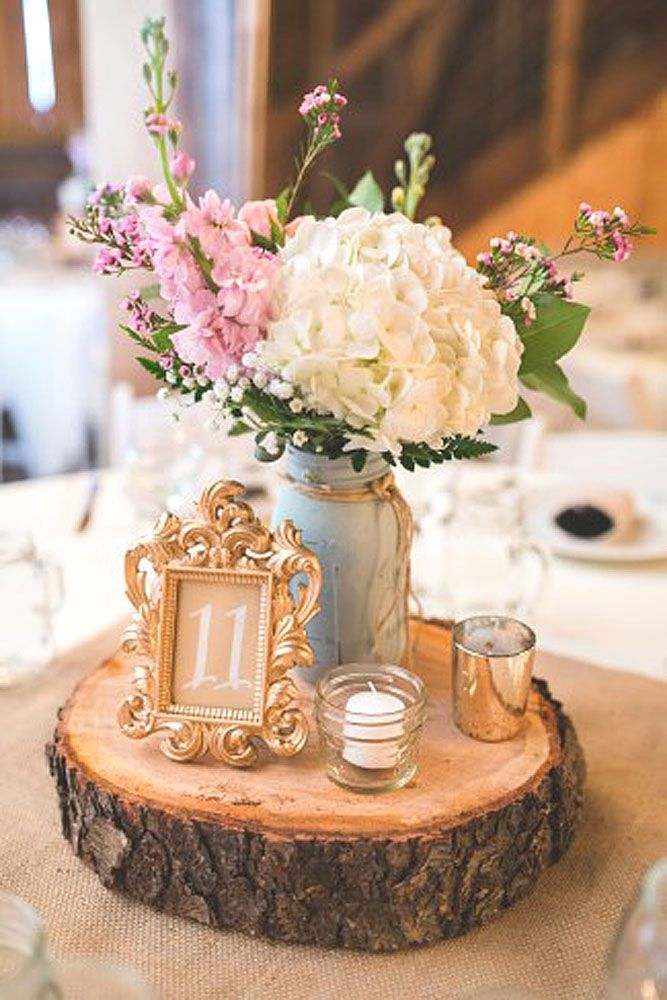 Rustic centerpiece with a slice of wood