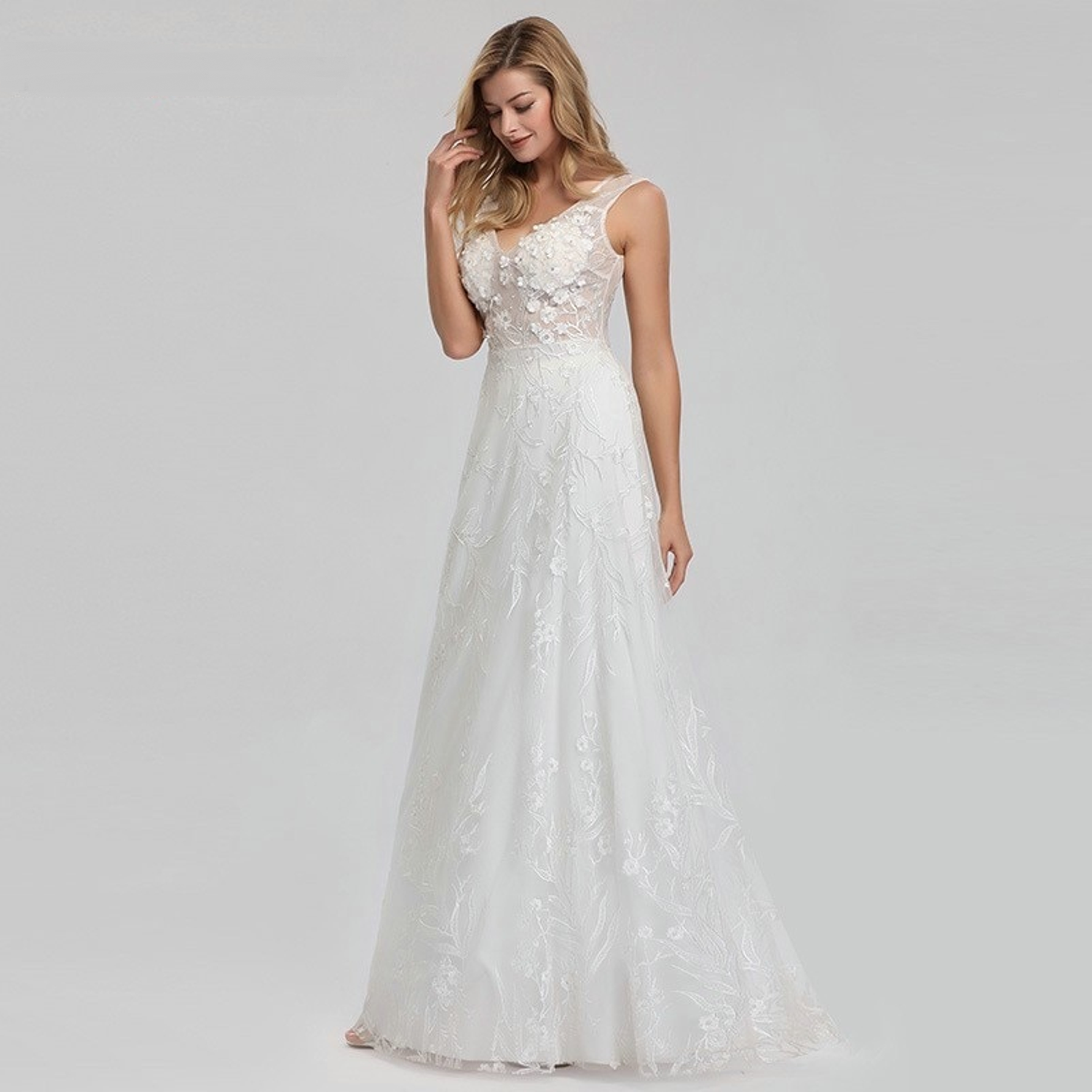 A-line wedding dress with illusion bodice